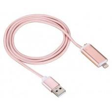 Cable USB a Lightning 8 Pines (Carga y Transferencia) Metal Rosa 1m Biwond (Espera 2 dias)