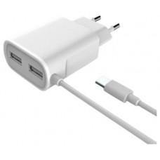 CARGADOR PARED USB 3GO MICROUSB 5V 2A 1,5M 2PUERTOS (Espera 4 dias)