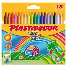 CERA PLASTICA BIC PLASTIDECOR 18UDS