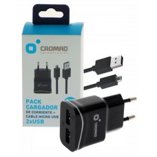 Pack Cargador de Corriente 2.1A + Cable MICRO USB CROMAD (Espera 2 dias)