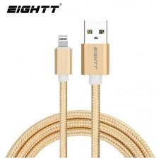 CABLE EIGHTT USB A LIGHTNING 1M TRENZADO DE NYLON ORO. CARCASA DE ALUMINIO