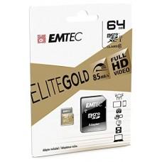 MEMORIA SD MICRO 64GB EMTEC ELITE GOLD 85MB/S SD +