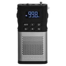 SCHNEIDER CONSUMER Schneider, Radio Turner Piccolo Plata, Sintonizador de FM, Display LED blanco, 5 estaciones de radio de la memoria Portátil Digital (Espera 4 dias)